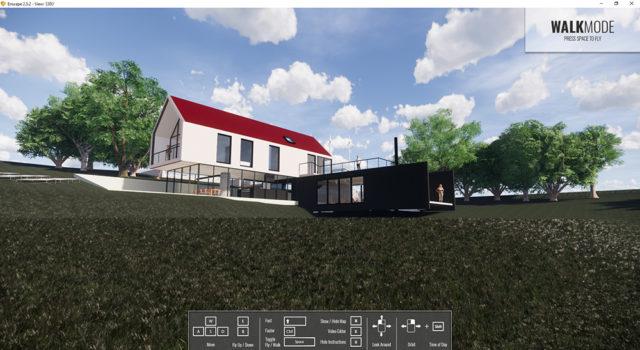 Gebäude-Außenansicht-mit-realistischem-Gras-und-Bäumen
