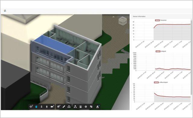 Visualisierung eines Gebaudeabschnitts auf Basis der Plattform Autodesk Forge