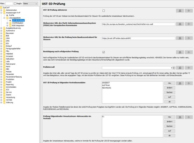 System-Konfiguration der USt-ID-Prüfung