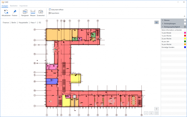 CAD-Darstellung Dachgeschoss - Reinigungsmanagement mit SPARTACUSFM