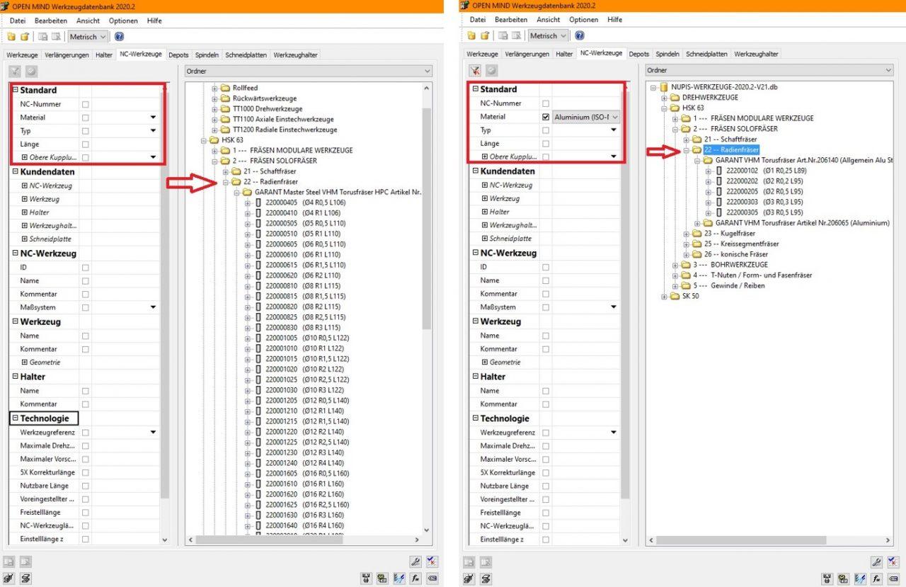 Filteransichten in Werkzeugdatenbank - Neuerungen in hyperMILL 2020.2