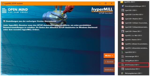 Setup-Assistent - Neuerungen in hyperMILL 2021.1