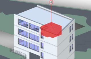 Grafischer Hinweis zur Lüftungsempfehlung im digitalen Gebäudemodell
