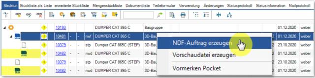 Screenshot Erzeugung eines NDF-Auftrags