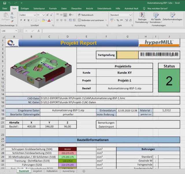 Projekt Report in Excel